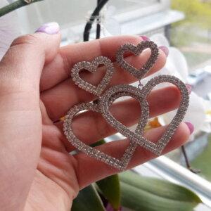 "Dvejų širdelių formos Auskarai ""Širdelės"""