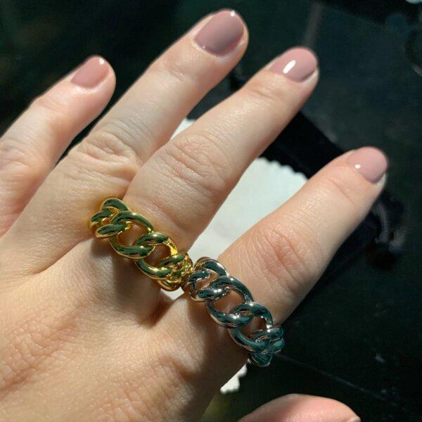 Madingas sidabrinis grandinės formos žiedas-3