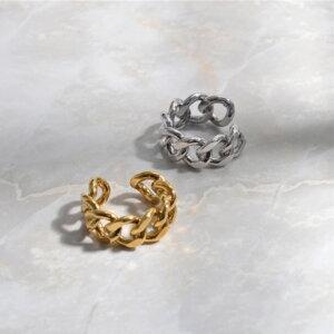 Madingas sidabrinis grandinės formos žiedas-7