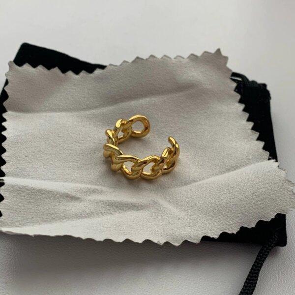Madingas sidabrinis grandinės formos žiedas-8