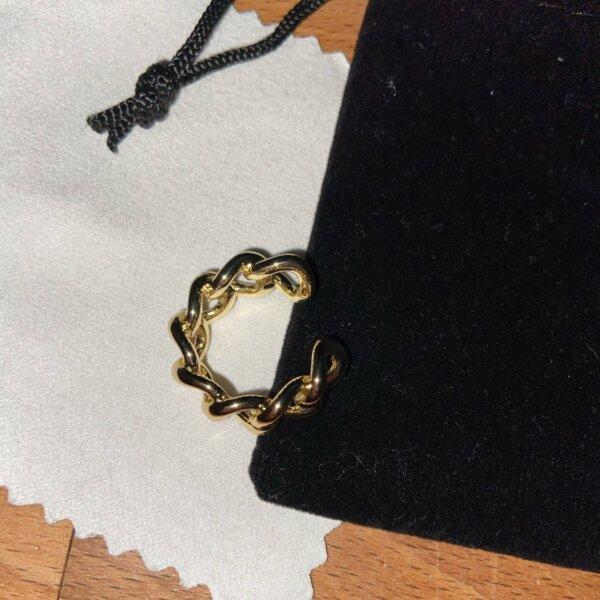 Madingas sidabrinis grandinės formos žiedas-9
