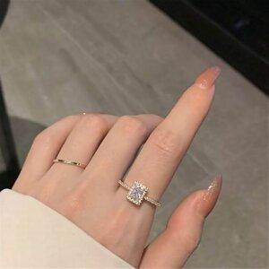 Prabangus spindintis žiedas su mažu kristalu-2