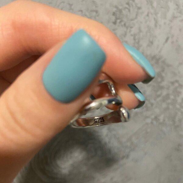Sidabrinis minimalistinis unikalios formos žiedas-8