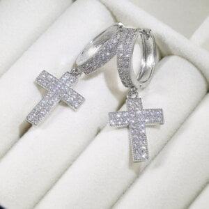 Stilingi kryžiaus formos kabantys auskarai-3