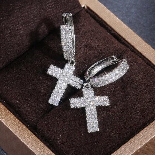 Stilingi kryžiaus formos kabantys auskarai-4