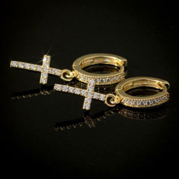Stilingi kryžiaus formos kabantys auskarai Spalva Auksinė 1-2