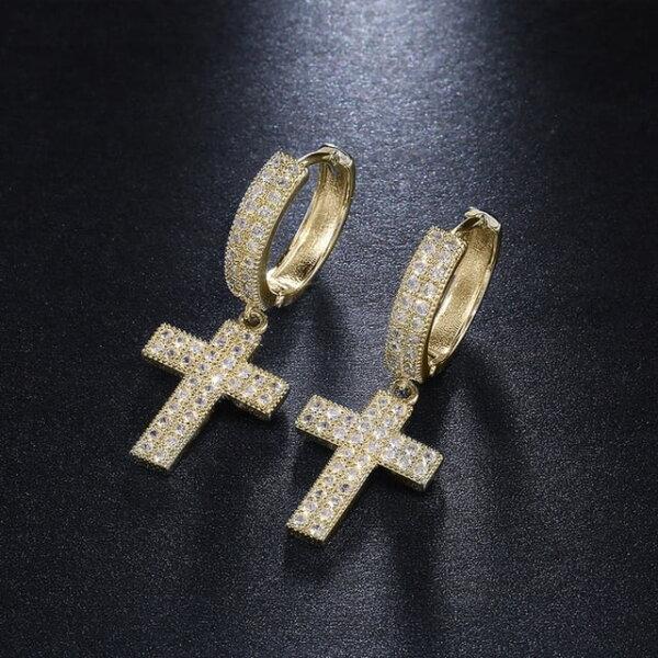 Stilingi kryžiaus formos kabantys auskarai Spalva Auksinė 2