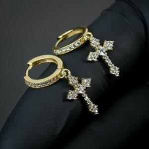 Stilingi kryžiaus formos kabantys auskarai Spalva Auksinė 3-1