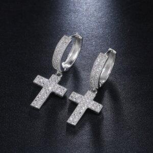 Stilingi kryžiaus formos kabantys auskarai Spalva Sidabrinė 1