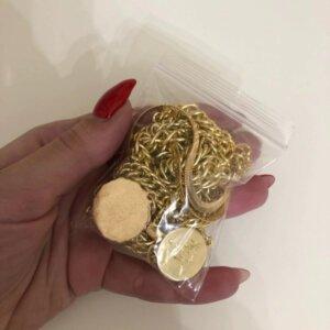 Aukso spalvos pakabukas grandinė su monetomis-11