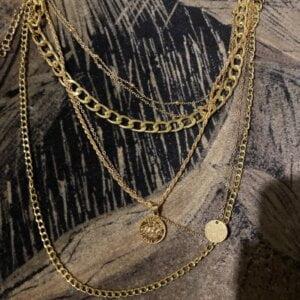 Aukso spalvos pakabukas grandinė su monetomis-8