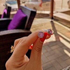 Prabangūs rožinio akmens auskarai-1