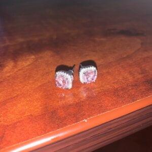 Prabangūs rožinio akmens auskarai-5