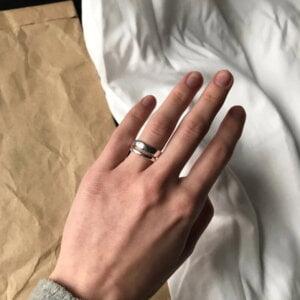 Sidabrinis madingas apvalus žiedas-2
