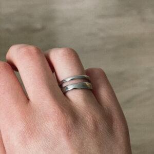 Sidabrinis madingas apvalus žiedas-5