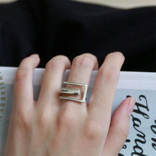 Sidabrinis stačiakampio formos žiedas-1