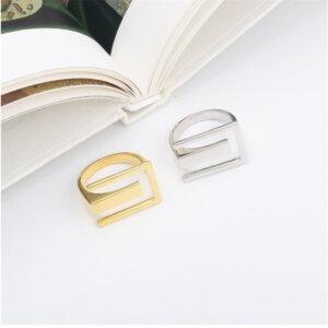 Sidabrinis stačiakampio formos žiedas-11