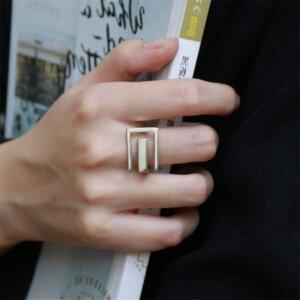 Sidabrinis stačiakampio formos žiedas-2