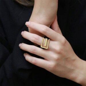 Sidabrinis stačiakampio formos žiedas-4