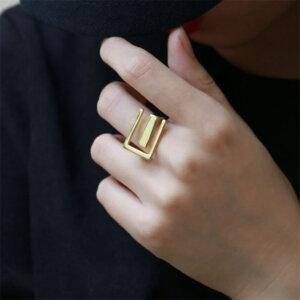 Sidabrinis stačiakampio formos žiedas-5