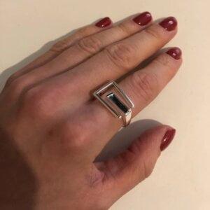 Sidabrinis stačiakampio formos žiedas-6.2