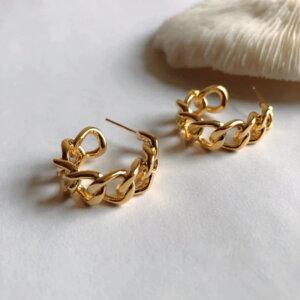 Auksinės spalvos dideli ovalo formos auskarai-1.1