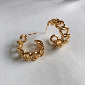 Auksinės spalvos dideli ovalo formos auskarai-1.2