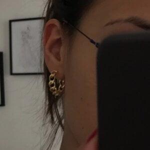 Auksinės spalvos dideli ovalo formos auskarai-12