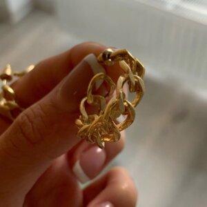 Auksinės spalvos dideli ovalo formos auskarai-2