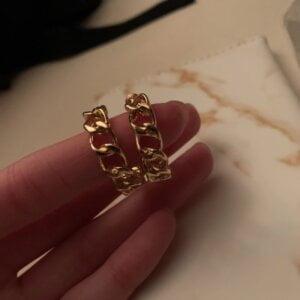 Auksinės spalvos dideli ovalo formos auskarai-4