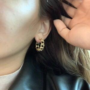 Auksinės spalvos dideli ovalo formos auskarai-9