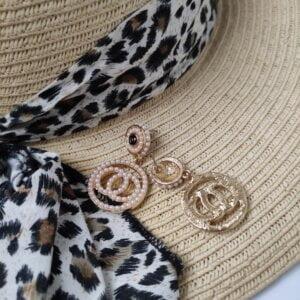 Auksinės spalvos ovalo formos auskarai papuošti mažais dirbtiniais perliukais-2