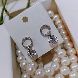 Korėjietiško stiliaus apvalios formos minimalistiniai auskarai su kubinio cirkonio kristalais-2
