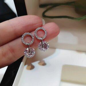 Korėjietiško stiliaus apvalios formos minimalistiniai auskarai su kubinio cirkonio kristalais-3