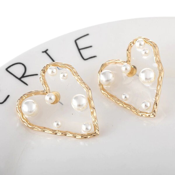 Širdelės forma perlų auskarai-1