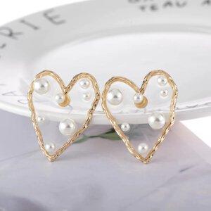 Širdelės forma perlų auskarai-2