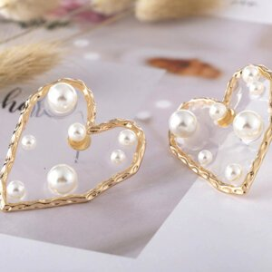 Širdelės forma perlų auskarai-3