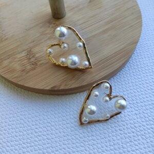 Širdelės forma perlų auskarai-4