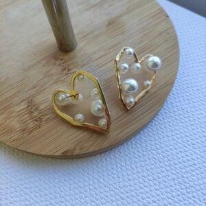 Širdelės forma perlų auskarai-5