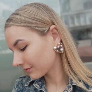 Širdelės forma perlų auskarai-6