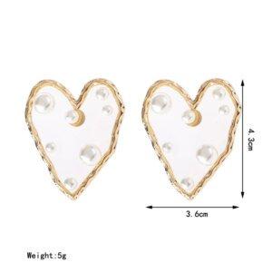 Širdelės forma perlų auskarai-7