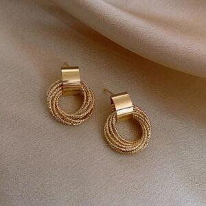Auksiniai kelių mažų apskritimų auskarai-1