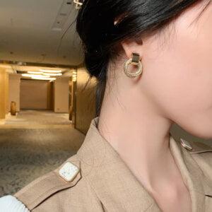Auksiniai kelių mažų apskritimų auskarai-10