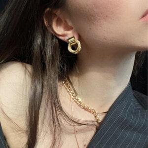 Auksiniai kelių mažų apskritimų auskarai-11