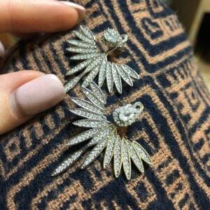 Prabangūs gėlių formos auskarai su dirbtinio deimanto kristalais-2