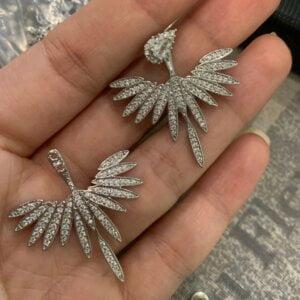 Prabangūs gėlių formos auskarai su dirbtinio deimanto kristalais-3