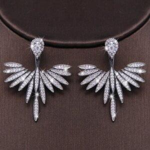 Prabangūs gėlių formos auskarai su dirbtinio deimanto kristalais-4