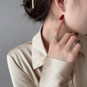 Prabangus cirkonio ir aukso žiedas-1