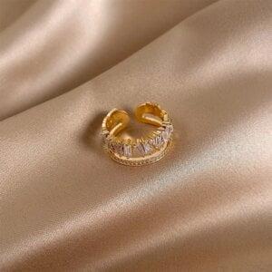Prabangus cirkonio ir aukso žiedas-10