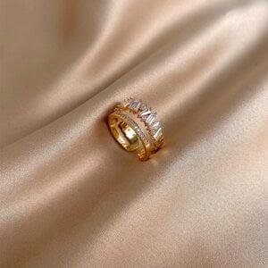 Prabangus cirkonio ir aukso žiedas-11